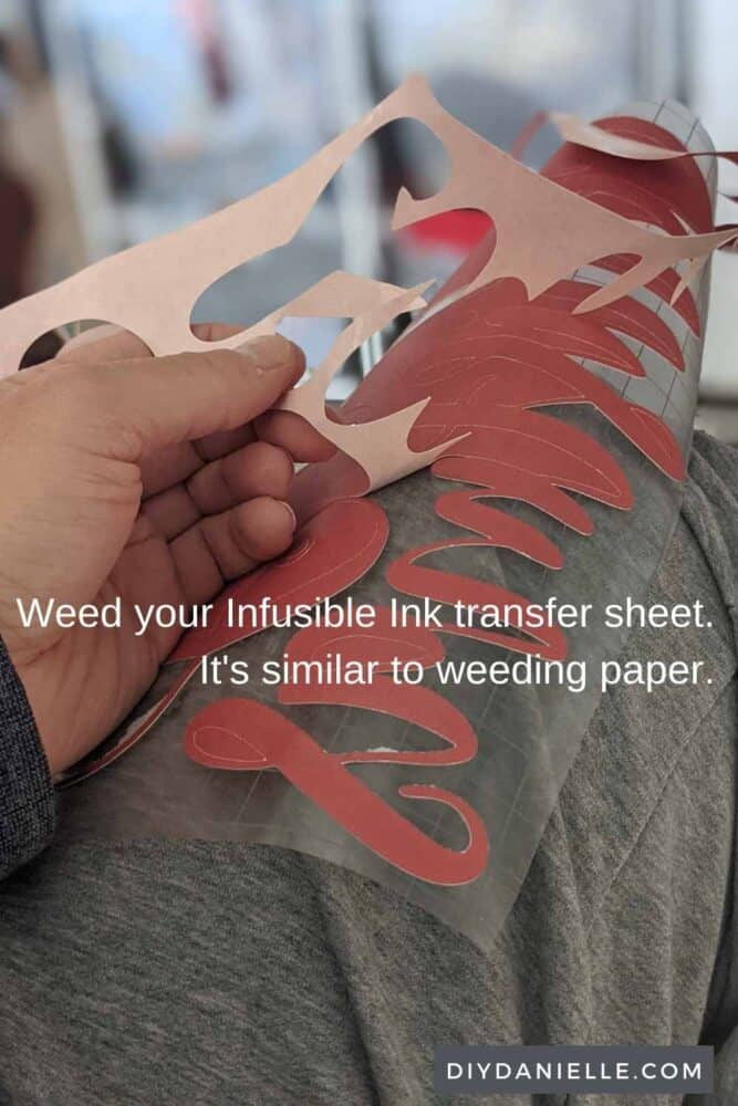 Weed your infusible ink transfer sheet similar to how you might weed paper.