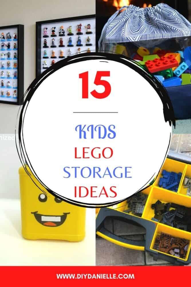 15 kids lego toy storage ideas collage of 4