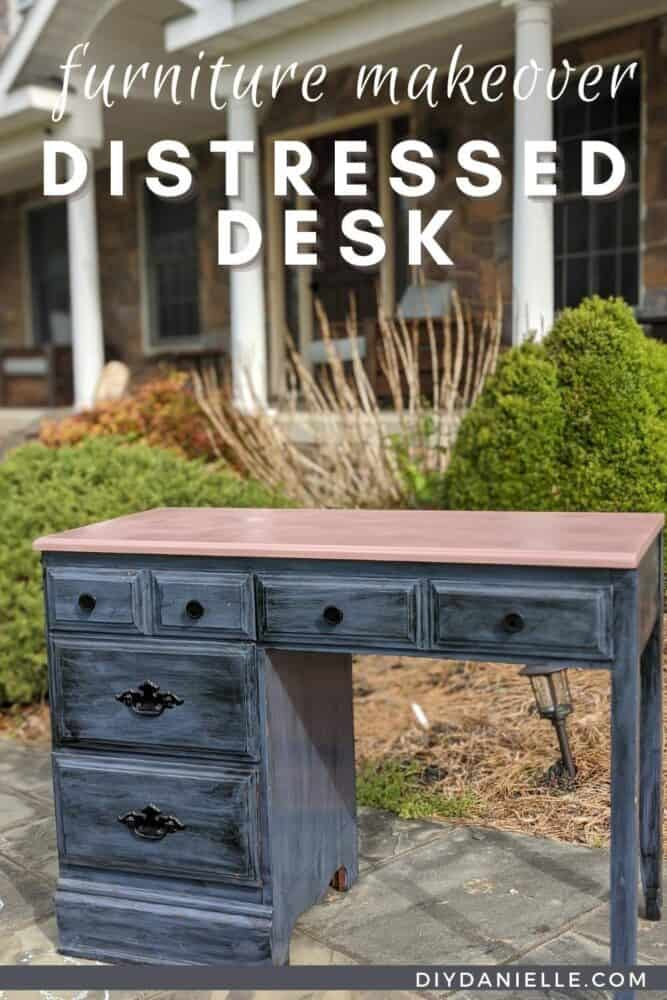 DIY Distressed Desk with dark blue and black bottom and a pink desktop.