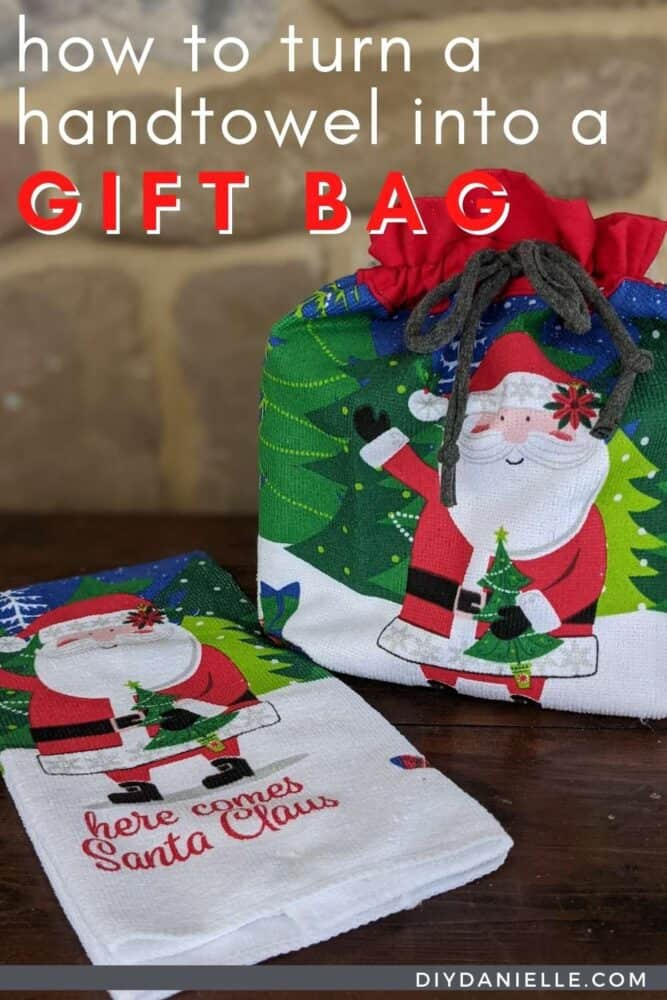 How to make a reusable gift bag with a hand towel.  Gift bag and the hand towel it was made from side by side.