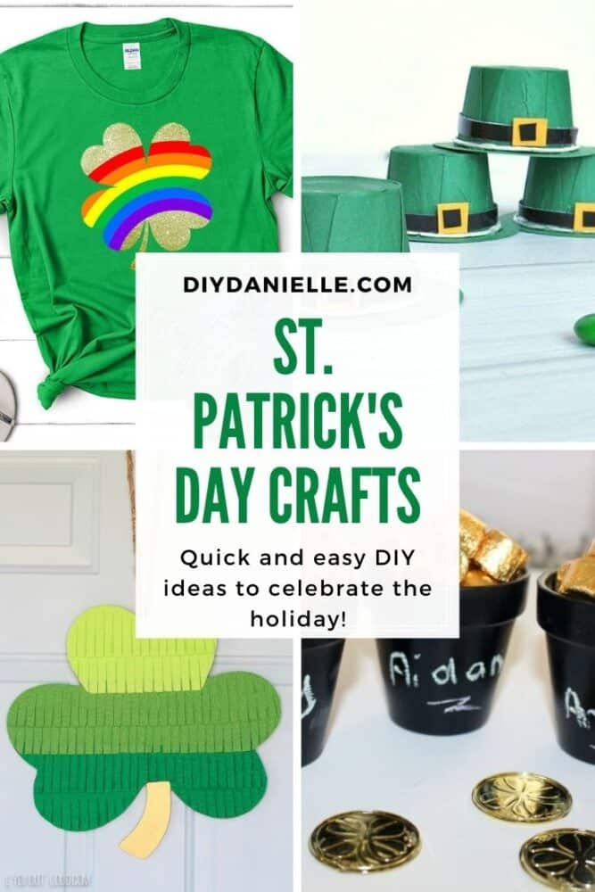 St. Patrick's Day Crafts collage of 4 crafts