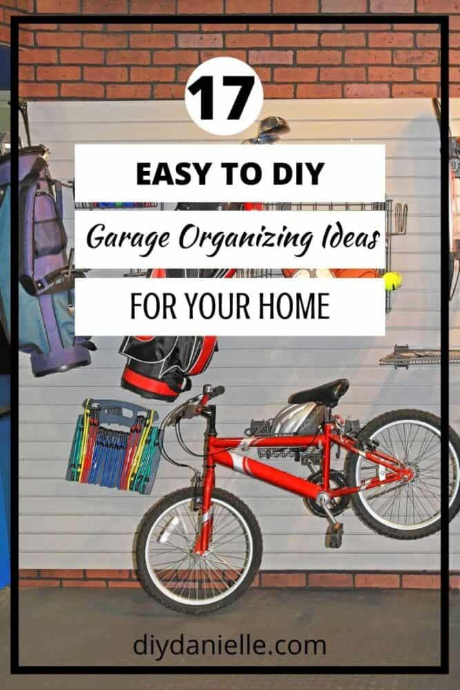 garage organizing ideas with red bike hanging and backpacks