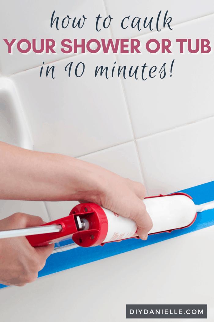 painters tape on shower using caulk gun
