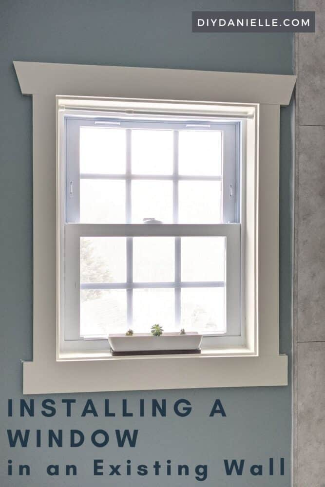 Finished window added to a small bathroom to allow natural light into the room.