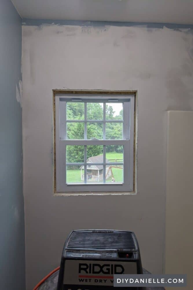 Window once the drywall was replaced and mudded over.