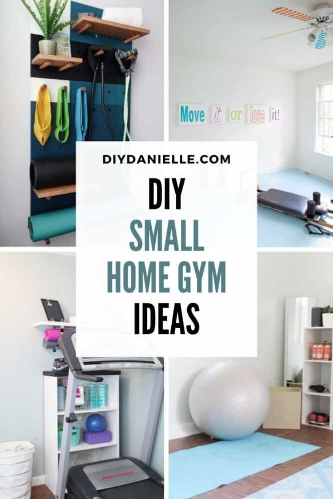 small home gym collage of four pin image