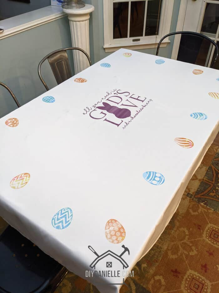 Custom tablecloth made with Infusible Ink Transfer Sheets. LOVE how this DIY Easter Tablecloth came out!