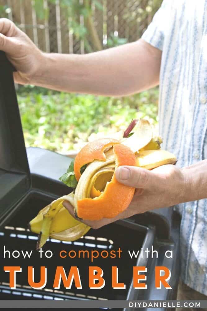 How to compost with a tumbler compost bin. Photo: This person is putting orange peels, lettuce, and a banana peel into a raised black tumbling bin.