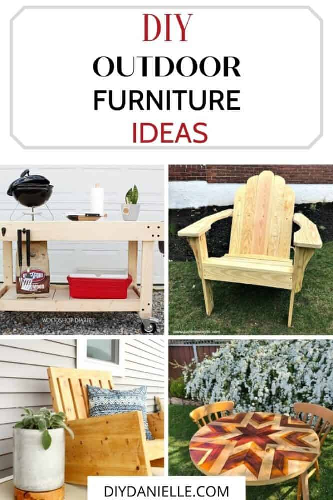 diy outdoor furniture ideas collage with text overlay
