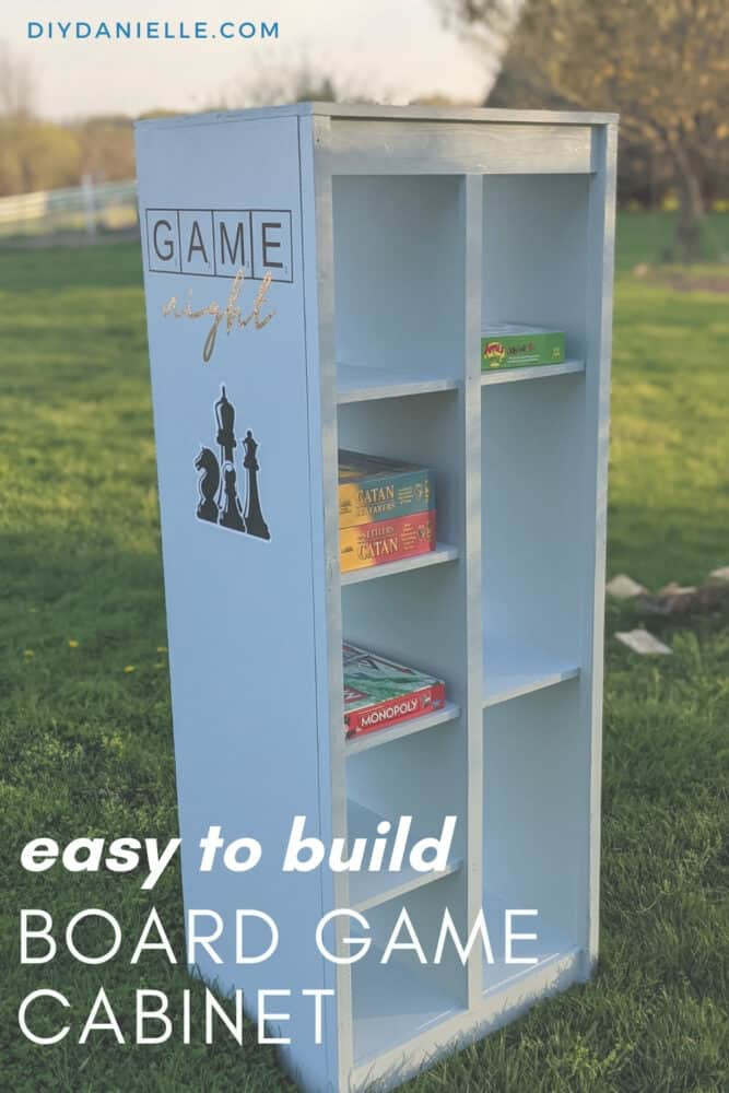 This easy to build cabinet is the perfect size for board games! Add vinyl and decorate it for the perfect addition to your game room.
