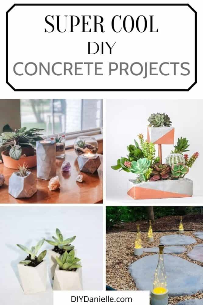 super cool DIY concrete projects collage with text overlay