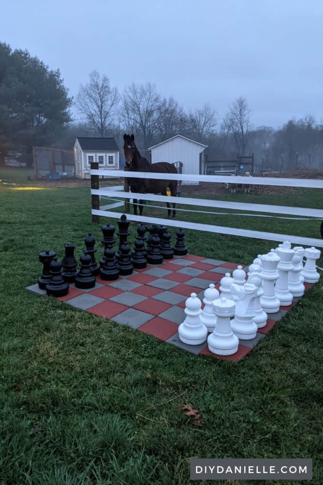 Giant chess set outdoors with horse field and horse behind a fence.