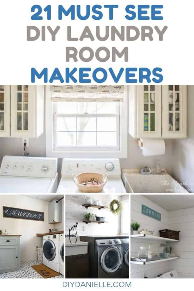 diy laundry room makeovers with text overlay