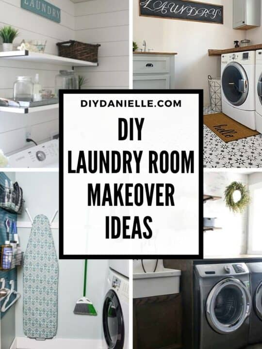 laundry room makeover pin collage with text overlay