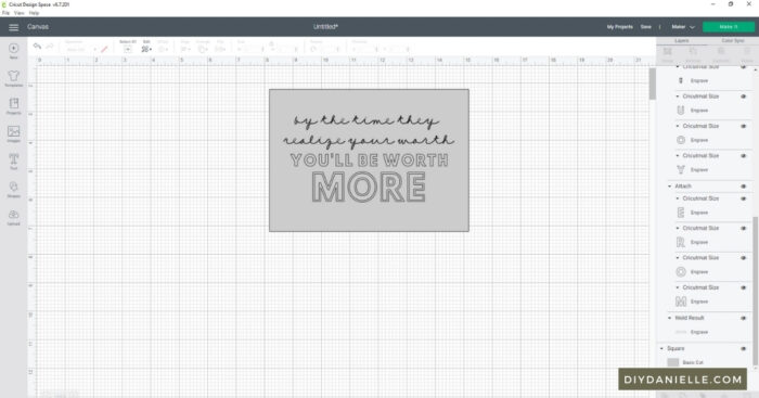 I add a gray box in the size of my blank before designing something in Cricut Design Space: In this screenshot, I've got a 5x7 gray box with text on top.
