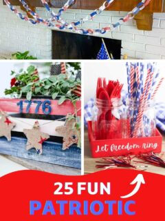 patriotic crafts and home decorating pin collage with text overlay