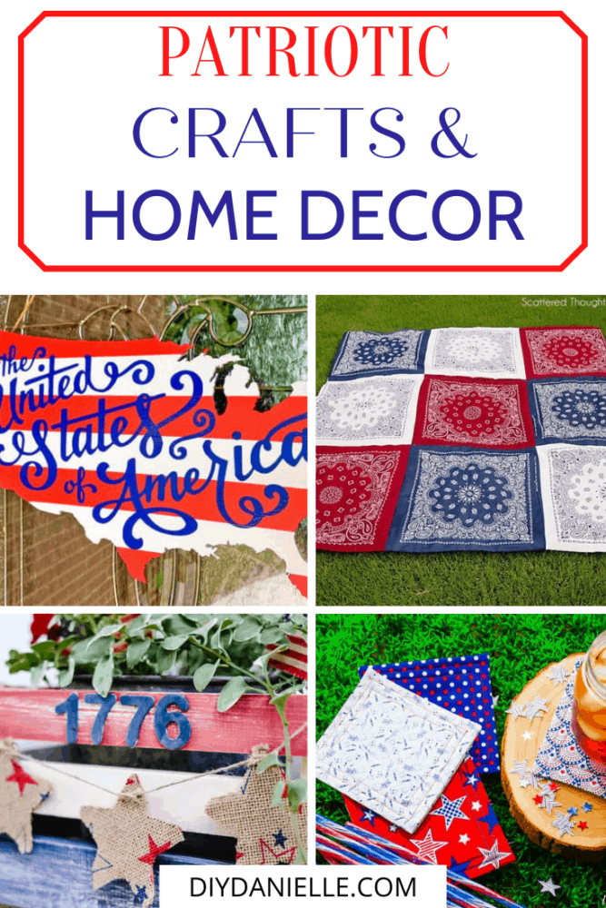 patriotic crafts and home decor collage with text overlay