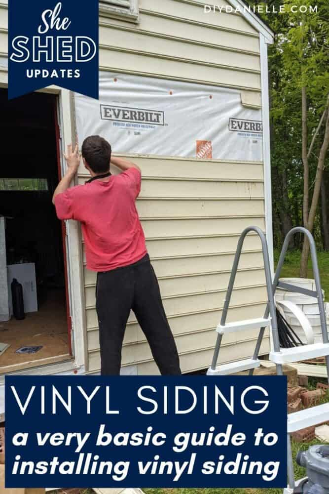 A very basic guide to how to install vinyl siding on a shed. We finished this wall and added house wrap, then vinyl siding.