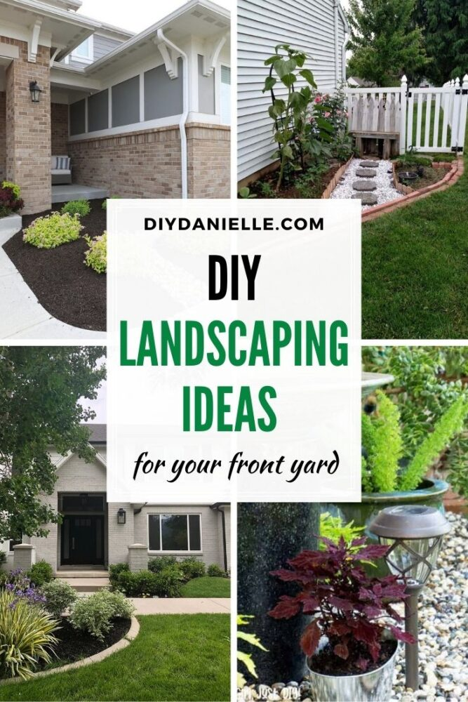 pin collage with text overlay landscaping ideas front yard