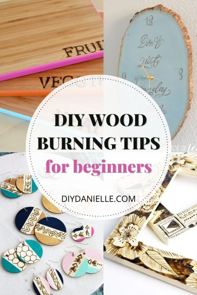 wood burning for beginners pin collage with text overlay