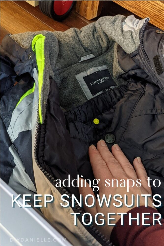 Snaps added to a snowsuit to keep it together while stored for the summer months.