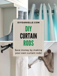 diy curtain rods feature image with text overlay