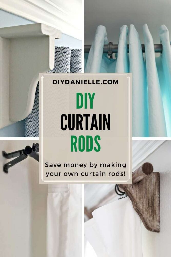 diy curtain rods pin collage with text overlay