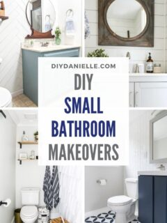 small bathroom makeovers pin collage with text