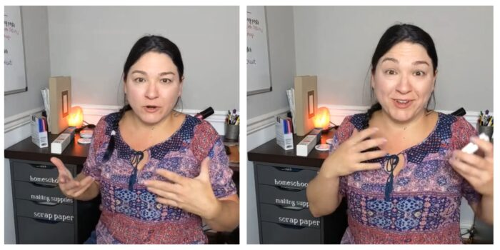 Danielle explaining Cricut projects for homeschool