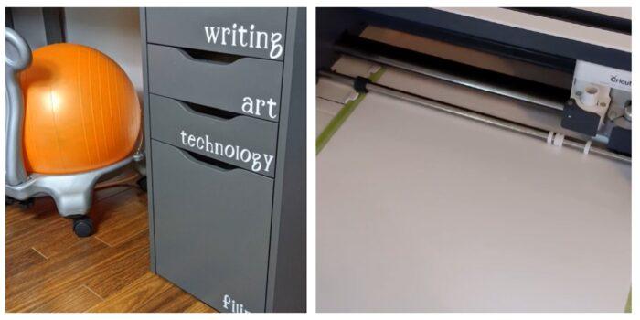 filing cabinet with cricut vinyl and Cricut Maker cutting vinyl