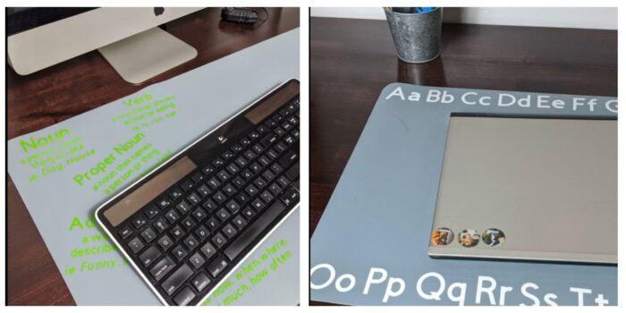 customizing a desk mat with Cricut Maker