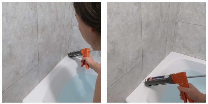 showing how to run a bead of caulk along bathtub with caulking gun