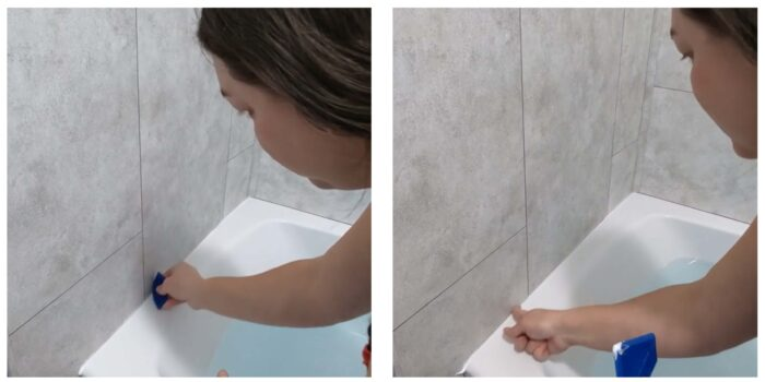 wiping excess caulk clean with finger or scraper
