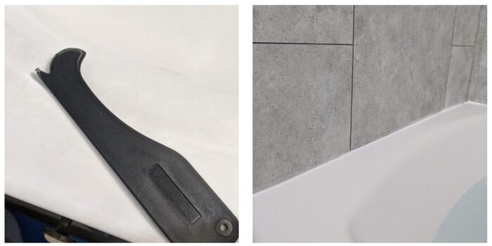tool used to remove debris from tub prior to caulking