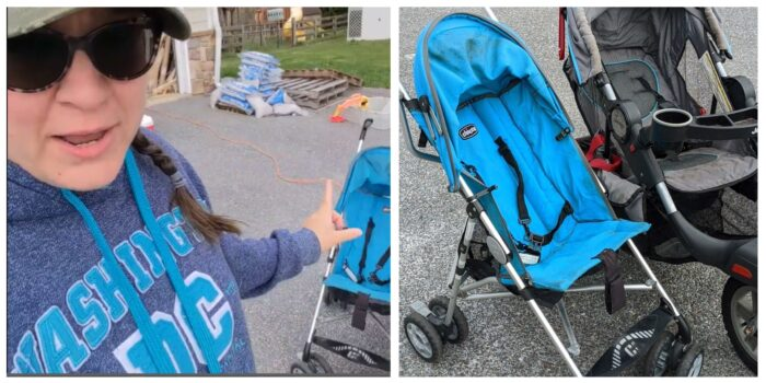 2 strollers next to each other in preparation for deep cleaning