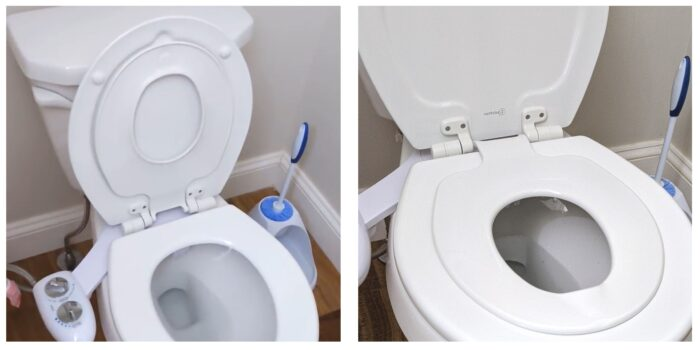 finished built-in potty seat shown with seat up and down