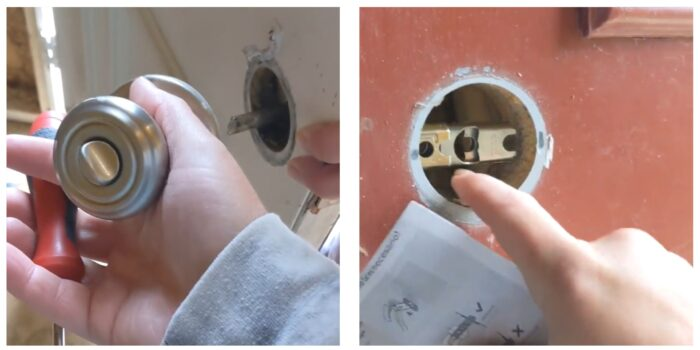 removing old knob & adding new latch inside door