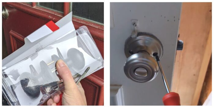 new keyed lock and removing old door knob