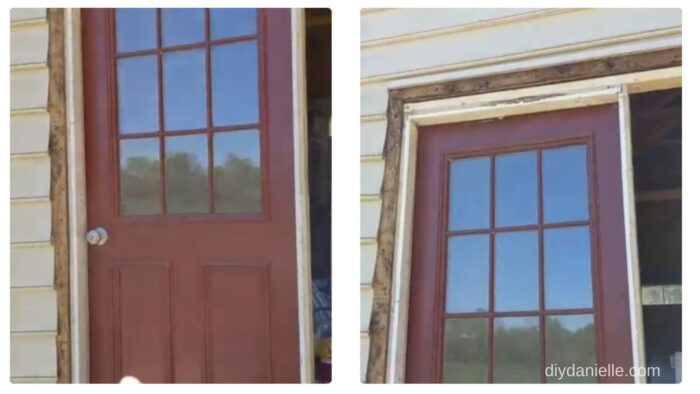 Screwing the framed door in place, next to the side of the garage door opening.