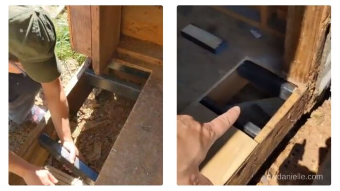 Adding 2x4 scraps between the floor joists to provide additional support for the new piece of subfloor.