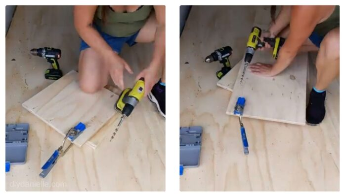 Adding pocket holes for the cabinet.
