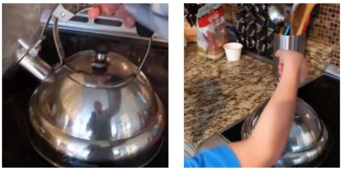 boiling tea in tea kettle for aging paper