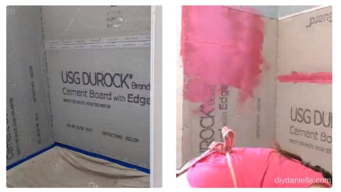 Left: Cement board with area prepped for using Redgard.   Right: Beginning to apply Redgard to the Durock.
