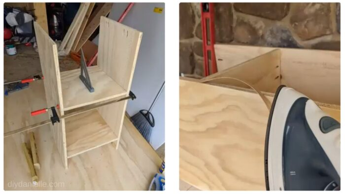 Assembling the printer stand, then adding veneer edging to cover up the raw plywood edges.