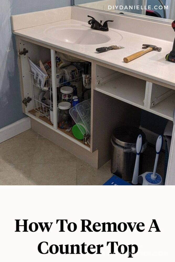 Long countertop with a short vanity in the 1990s off white style. I removed this and converted to a shorter vanity and countertop. Here's how to remove the countertop on these.