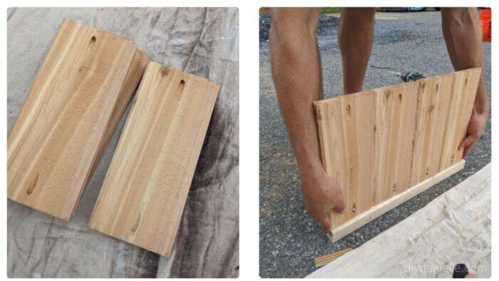 Add pocket holes to each cut of cedar wood. Line up with your 2x2s and attach 4 panels per side.