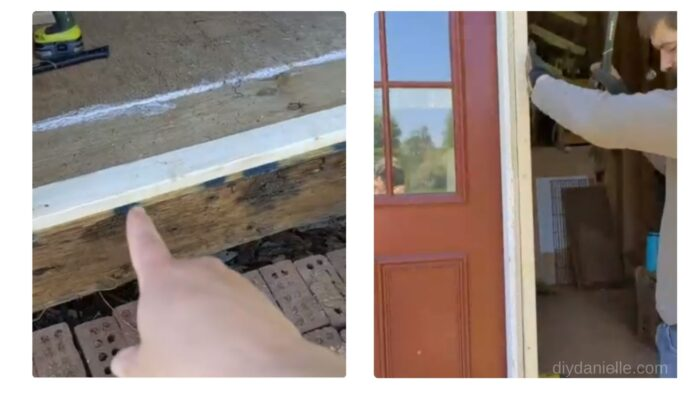 2x4s added beside a framed door to essentially frame the opening in place.