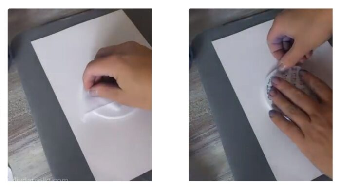 Left: Wiping the coasters down to remove lint. Right: Placing my Infusible Ink design face down on the coaster.