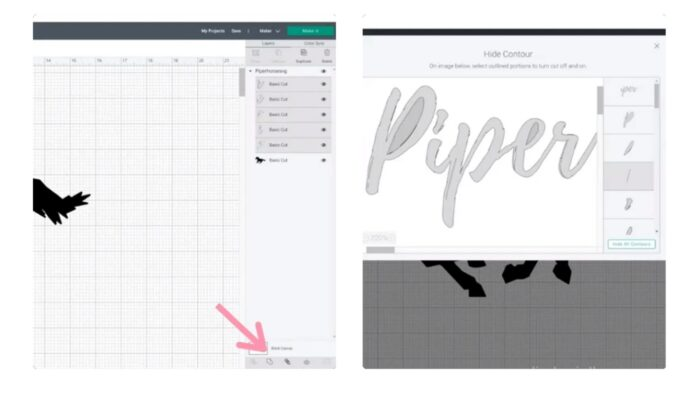 Contouring the SVG design in Design Space.