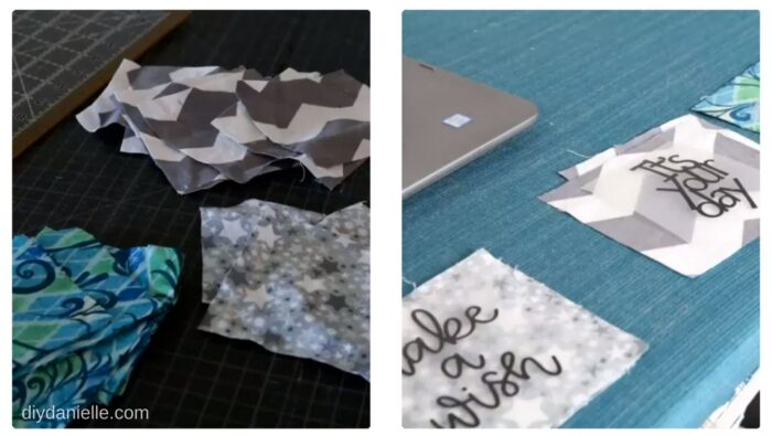 Squares of fabric cut to make sachets. In the right photo, I'm adding inspirational quotes to the front of each sachet.